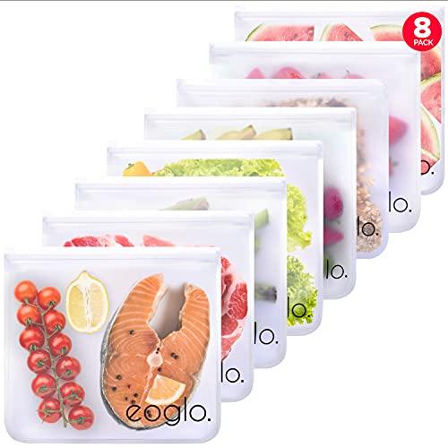 Reusable Food Storage Bags, BPA FREE, Dishwasher Safe 8 Pack XLarge Gallon Size Freezer Bags