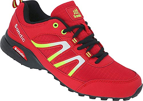 Herren Sportschuhe Sneaker Runners Turnschuhe Schuhe Gr.41-46 Art.-Nr.1672 (rot-schwarz-grün, 42)