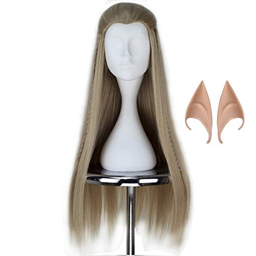 Miss U Hair Long Straight Men Ash Blonde Hair Braid Halloween Cosplay Costume Wig C171