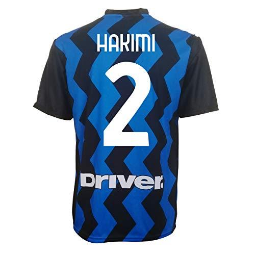 L.C. SPORT Camiseta del Inter Hakimi 2 réplica autorizada 2019-2020 para niño (tallas 2, 4, 6, 8, 10, 12) adulto (S, M, L, XL), Negro , 6-7 anni