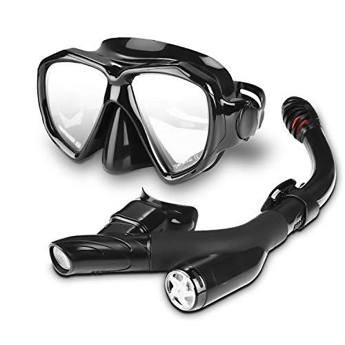 Speedsporting Trocken Schnorchelset, Anti-Fog Tauchmaske,Leichtes Atmen und Professionelle Schnorchelmaske mit Weichen Mundstück, Anti-Leck Schnorchel Set für Erwachsene