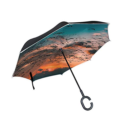 Sale!! Double Inverted Umbrella Car Inverted Umbrella Reverse Folding Travel Umbrella Super Waterpro...