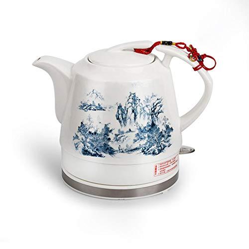 Hervidor eléctrico inalámbrico de cerámica Tetera-Retro 1.2L Jarro, 1000w Agua rápida for el té, café, Sopa, harina de Avena Base-extraíble, Hervir la protección Seca/B