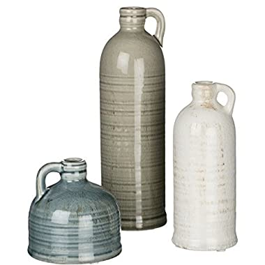 London Home Décor Set of 3 Jugs – Three Different Sizes and Colors (small – blue 4 inch medium – white 7.25 inch large – green 10 inch all featuring a .75 inch opening)