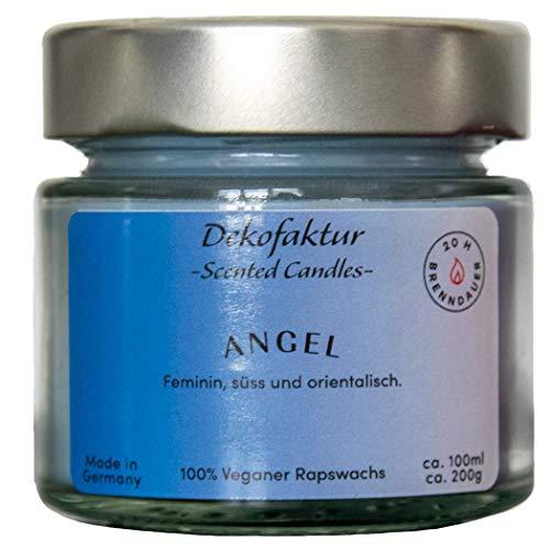 Dekofaktur - Scented Candles - Angel - Handgemachte Duftkerze im Glas - aus 100% Bio Rapswachs - Vegane Aromakerze - Brenndauer ca. 20h - Made in Germany