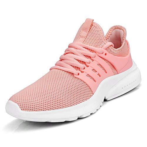 Troadlop Women Shoes Non Slip Running Walking Anti Skid Athletic Gym Casual Mesh Comfortable Workout Sneakers 7 US Pink