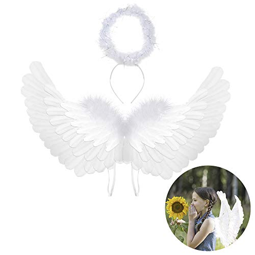 Angel Wings and Halo Kids Angel Wings Angel Halo White Angel Wings for Kids Angel Costumes for Girls Boys Child Feather Wings Halloween Christmas Angel Costume Wings(Angel Wings & Headband Halo)