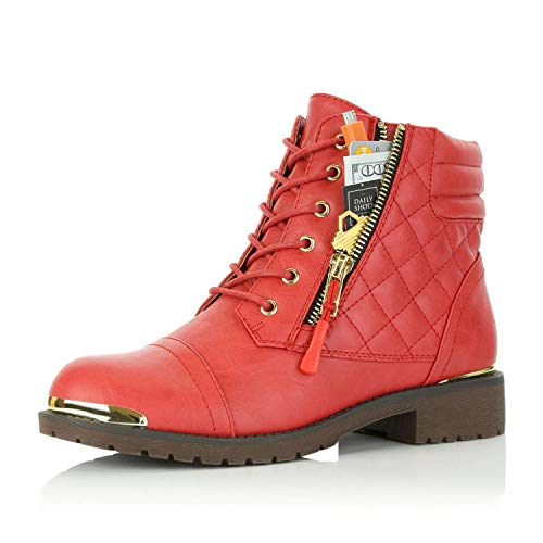 DailyShoes Ankle High Boots with Hidden Zipper Pockets Combat Boot Low Heel Lace Up Zip Pocket Thin Perfect for Enjoying A Safer Nightlife Amelia-01 Red Pu 7