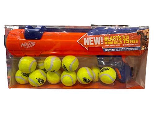 Nerf Elite 20' Blaster Dog Toy + 12 Squeak Tennis Balls
