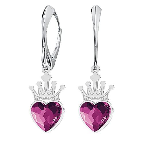 Pendientes de plata de ley 925 con cristales de Swarovski – Corona corazón – Fucsia – Pendientes para mujer – Bonita joya para mujer con caja de regalo