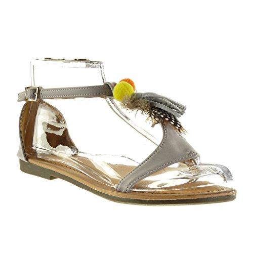 Angkorly - Damen Schuhe Sandalen - T-Spange - Fransen - Bommel Blockabsatz 1.5 cm - Grau M101 T 38