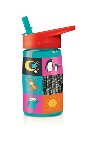 Find Bargain Crocodile Creek Kid's World Flip Straw Tritan Drinking Bottle, Teal Blue, 7