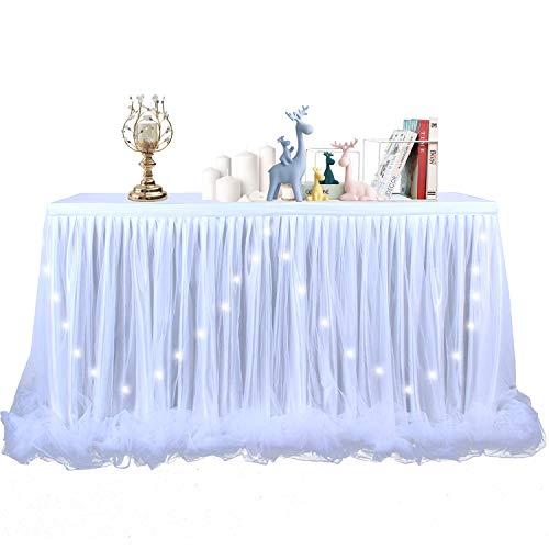 NSSONBEN Tischdecke Tüll LED Tischrock Weiß Für Baby Shower, Hochzeit,Geburtstag, Kindergeburtstag 2Yards