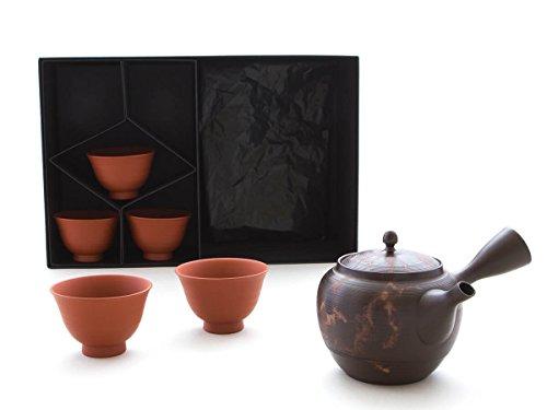 Gyokko – Japanisches Tee-Service 6-teilig. Tokoname MOKAKE mit 5 Tee-Schalen. Braun, Handmade auf der Töpfer-Scheibe…