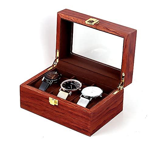 LLNB Caja Reloj Madera 3 Ranuras para Hombres,Vitrina De Exhibición De Joyas, Soporte Grande con Cerradura Metal con Caja Colección De Ventana Transparente,A