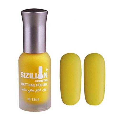 Xshuai Nagellack 2018 neue bunte Scrub strapazierfähiger Materie Nagellack schnell trocken langlebig Nail Art Matte Nagellack (Gelb)