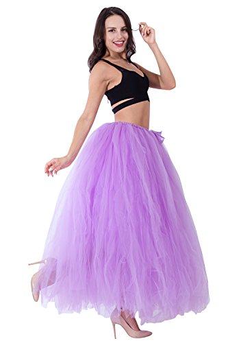 Women's Elastic Waist Tutu Tulle Bridal Skirt for Engagement Photo Shoot Lavender