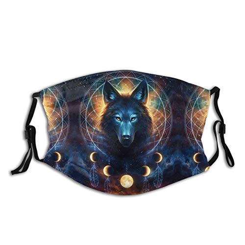 Dream Catcher Wolf Cloth Face Mask With Filter Pocket Washable Face Bandanas Balaclava Reusable Fabric Mask With 2 Pcs Filters