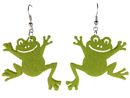 Handgemachte verrückte Ohrringe Filz Filzohrringe Frosch grün Teich Aquarium 9621