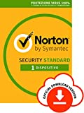 norton security standard antivirus software 2019 | 1 dispositivo (licenza di 1 anno) | compatibile con mac, windows, ios e android | codice d'attivazione via email
