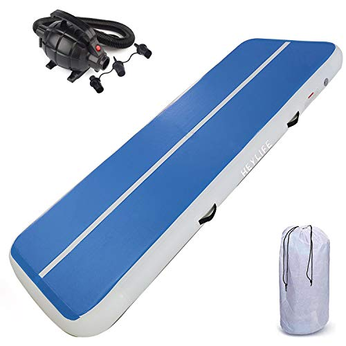 HEYLIFE Gymnastics Air Mat 16ft Thick 8 Inches Gymnastics Mat InflatableTumbling Track Mat with Electric Pump Blue for Boys Girls Gift