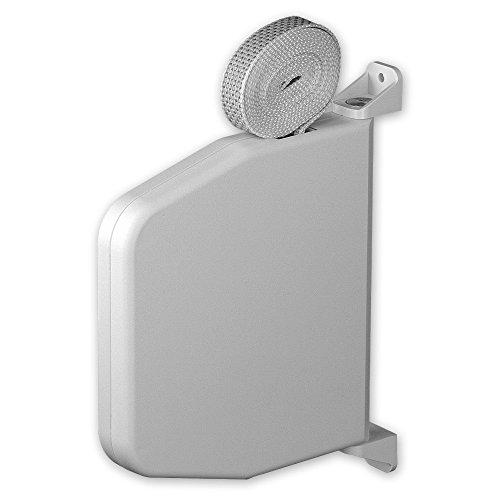 Mini-Aufputz-Gurtwickler 'Magno', Farbe: weiß, inkl. Gurt 15 mm x 7 m Länge, Gurtfarbe: grau, Lochabstand: 166 mm, 180 Grad schwenkbar, von EVEROXX