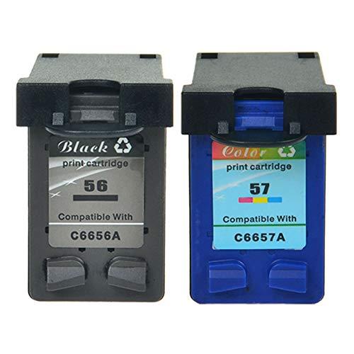 NineLeaf Cartouches d'encre remanufacturées HP 56 57 haute capacité compatible pour HP Deskjet 5150 5550, HP Officejet 5610, HP PSC 1210 1215 2110 2175 HP Photosmart 7762 7960 (1 noir, 1 couleur)
