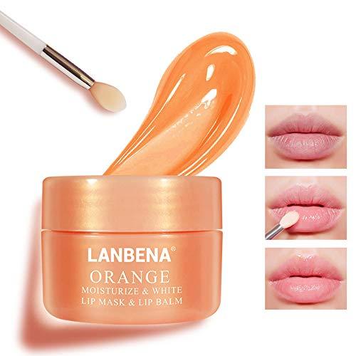 Lip Mask Orange Vitamin C Scrub Cream for Moisturizing Softening Keratin Fading Lip Lines Improving Lips Peeling Keeping Lip Smooth Elasticity (Orange)