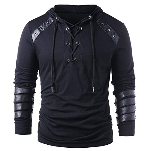 Hoodies - Sudadera con capucha para hombre, diseño casual de patchwork de piel, para otoño B-black L