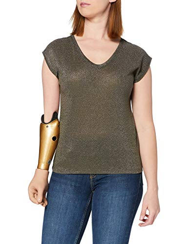 Only onlSILVERY S/S V Neck Lurex Top JRS Noos Camiseta, Verde (Kalamata), 34 (Talla del Fabricante: X-Small) para Mujer