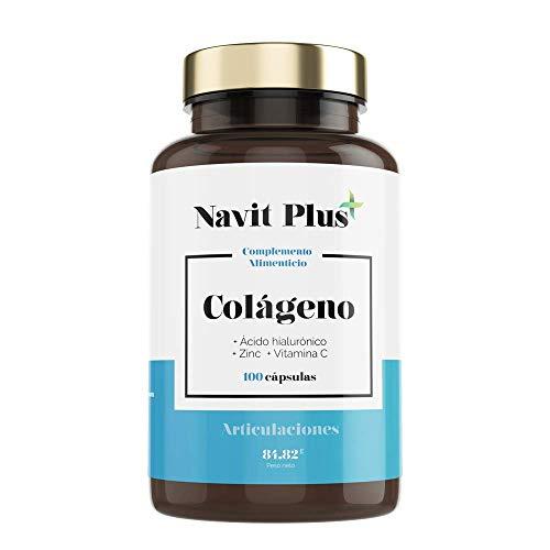 Colágeno hidrolizado con Acido Hialurónico | Vitamina C y Zinc | Código Nacional Farmacia 193336.2 | Suplemento para Articulaciones, piel y huesos fuertes | 100 cápsulas | Navit Plus