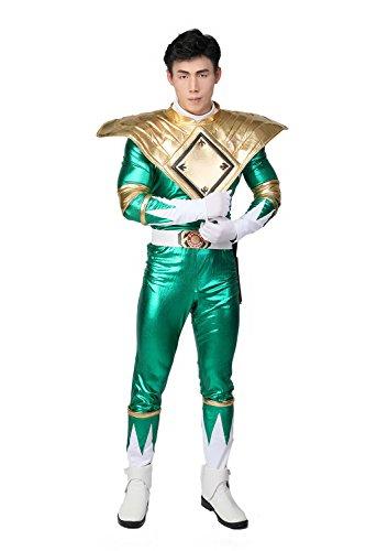 Fancy Dress Kostüm Erwachsene Grüne Ranger Cosplay Halloween Full Set PU Overall Outfit mit Gürtel Zubehör