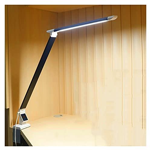Lámpara de Oficina Lámpara de protección de ojos con brazo largo 12W Lámpara de mesa con LED plegable con abrazadera 360 ° Lámpara de escritorio flexible y portátil, 5 modos de color y 5 brillo Dimmer