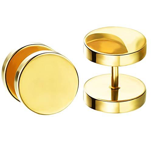 Ditz Damen Herren Ohrstecker Titan Platte mit Kreis zum Schrauben Fake Plug Piercing Ohr Tunnel Doppel Ohrringe Rund Schlicht Gold 10mm