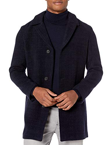 Billy Reid Men's Single Breasted Lancaster Car Coat with Leather Details, Navy, S