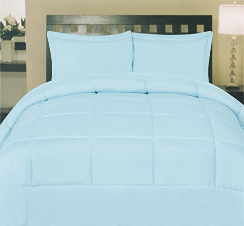 Sweet Home Collection White Goose Down Alternative Comforter, King, Navy/Aqua