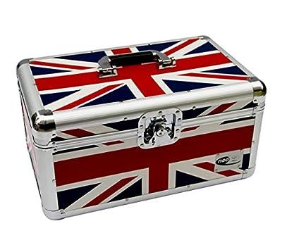 "Zilla Union Jack Flag UK 7"" 200 Single Vinyl Record Aluminium DJ Flight Carry Case Holds 200 Vinyls Tough Strong"