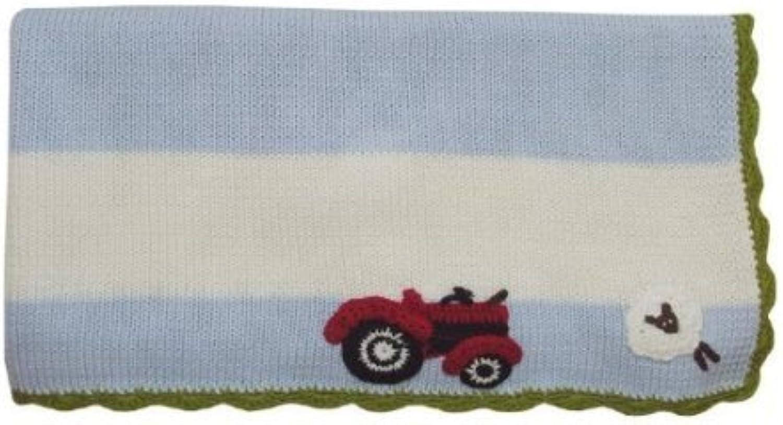 Powell Craft Cotton Pram Stroller Blanket Farmyard bluee 65 x 75 Cm