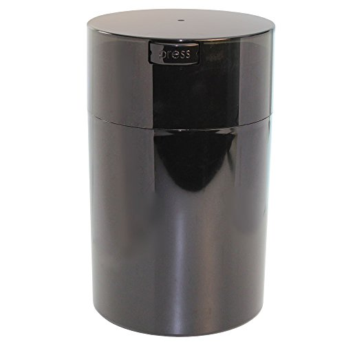 Tightpac America, Inc. Vakuum-versiegelter Kaffeebehälter von Coffeevac, 450 g, blau getönter Deckel und Becher Black Pearl