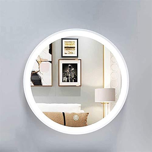 Espejo LED Deluxe - Espejo de vanidad de baño, oro led / espejo de pared de círculo blanco, luz de iluminación retroiluminado táctil de maquillaje de tocador de vanidad décor anti niebla montada en la