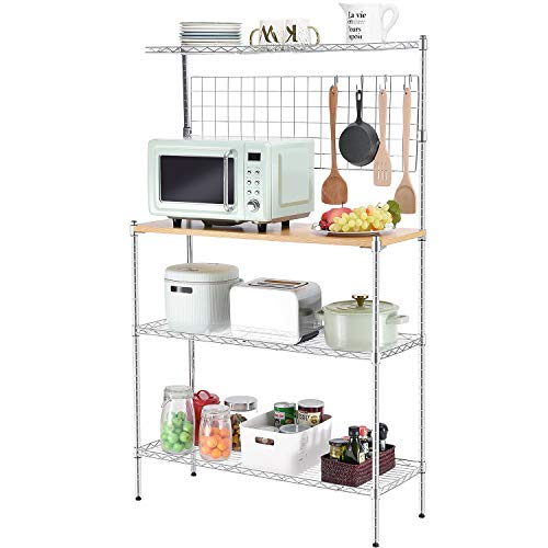 kingrack Étagère de cuisine sur pied avec table en bois, support de four à micro-ondes, étagère de rangement utilitaire en métal à 4 étages avec panneau en maille, 6 crochets, hauteur réglable