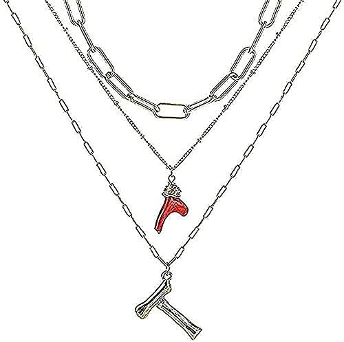 banbeitaotao Collar Collar Inicial Oro Bambú Letra Inicial Nombre Collares Colgante Coral Red Eslabones de Cadena para Mujeres Regalos de cumpleaños