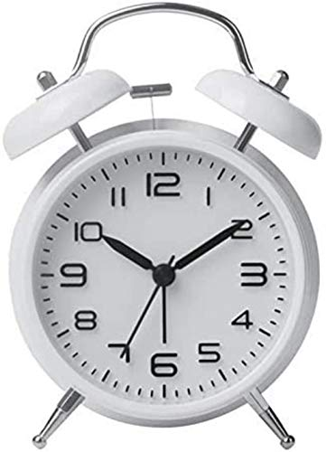 PANGPANGDEDIAN Reloj de Pared Relojes de Alarma Digital Double Bell Relock Escritorio Mecánico Alarma Mute Clock Bell Waker (Color : White)