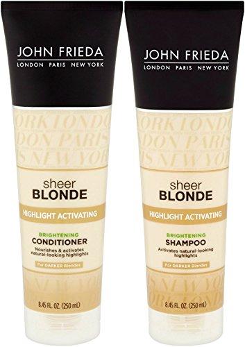 John Frieda Sheer Blonde Highlight Activating Enhancing, DUO set Shampoo + Conditioner, For Darker Blondes, 8.45 Ounce, 1 each