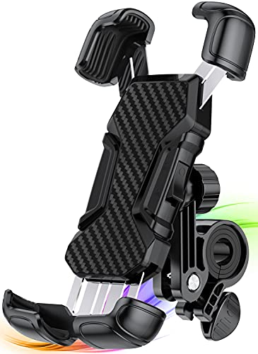 Yapeen Soporte Movil Bici,360° Rotación Soporte Movil Moto Bicicleta, Anti Vibración Porta Telefono Motocicleta Compatible para iPhone, Samsung, Huawei, 4.7-6.8' Smartphones
