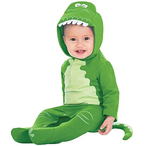 Amscan Dress Up DCREX-RJ09 Disney Baby Rex Hood Romper 9-12 maanden Kostuum, Unisex Kinderen, Niet-vette Kleur