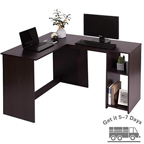 Coavas Eckcomputertisch, L-förmiger Computertisch Gaming, Schreibtisch Holz mit 2 Ablagefächern, Stabiler Bürotisch, erleichterte Montage, Für Home Office, dunkel braun, 120 x 100 x 75 cm