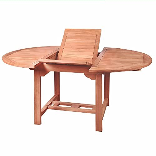 Mesa de jardín Extensible Kayla Ovalada de Teca Natural de 180x100x75 cm - LOLAhome