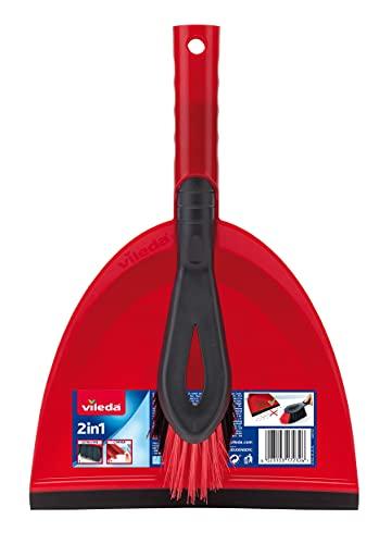 Vileda Kehrset 2-in-1 mit extra Borsten für Sauberkeit in den Ecken, rot