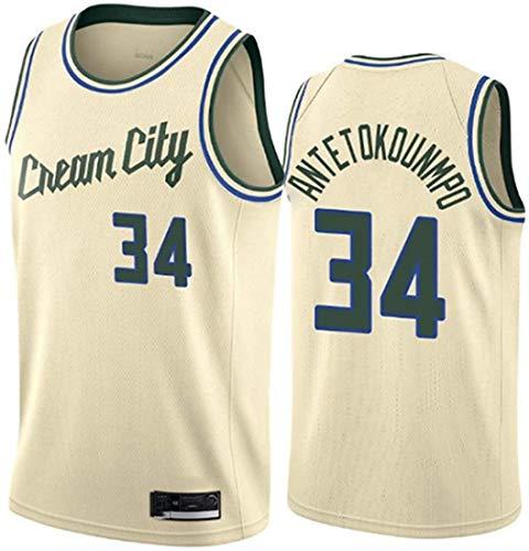 XSJY Jersey Men's NBA Milwaukee Bucks # 34 Giannis Antetokounmpo Vintage All-Star Jersey, Tejido Fresco Transpirable, Uniforme De Baloncesto Uniforme,Beige,XL:180~185cm/85~95kg